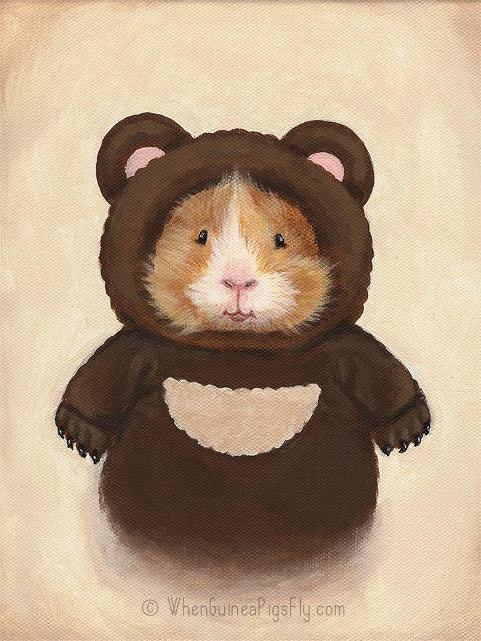 Meerschweinchen in ein Bär Costumer süße Kunstdruck des