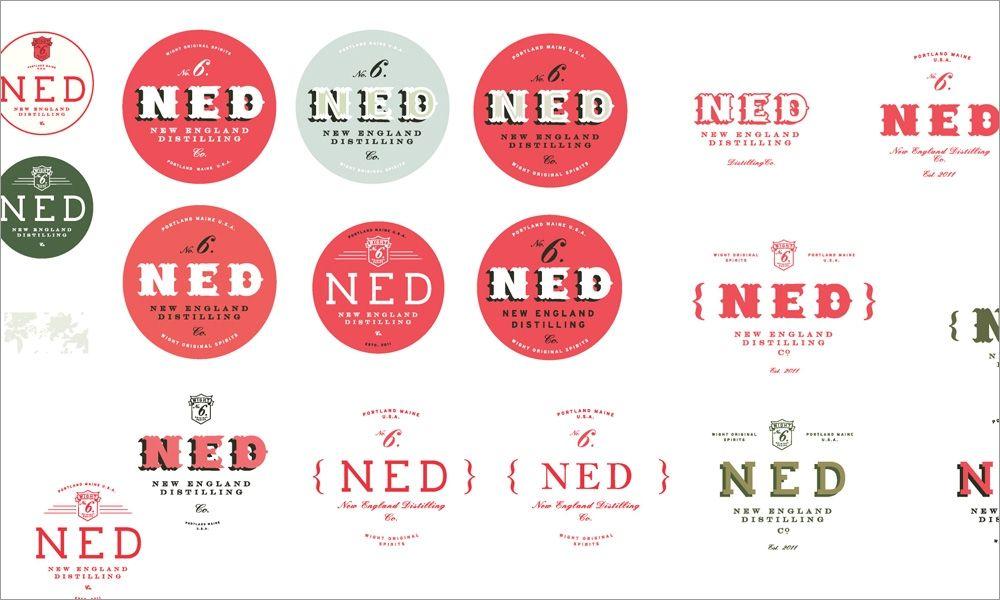 New England Distilling Logo Design Development Concept Sketches