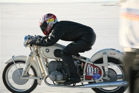 Barbara racing on her 1955 600cc BMW. She and her husband restore and race vintage BMW motorcycles through their company, Brooks Motor Works.