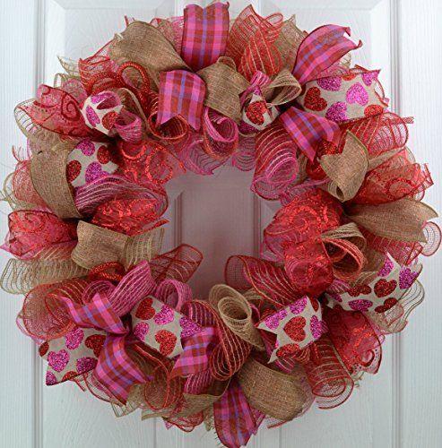 Amazon Com Valentine S Day Wreath Sweetheart Mesh Front Door