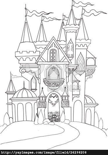 Fantasy Castle Coloring Pages Background