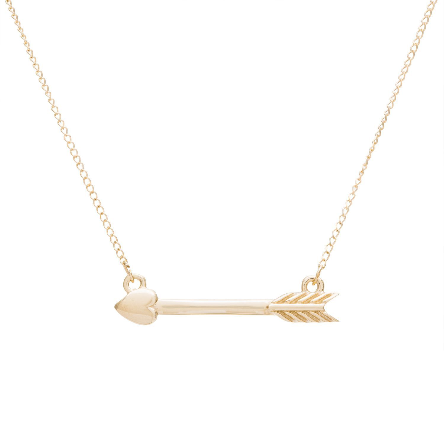 K yellow gold heart and arrow necklace by chroma gold heart