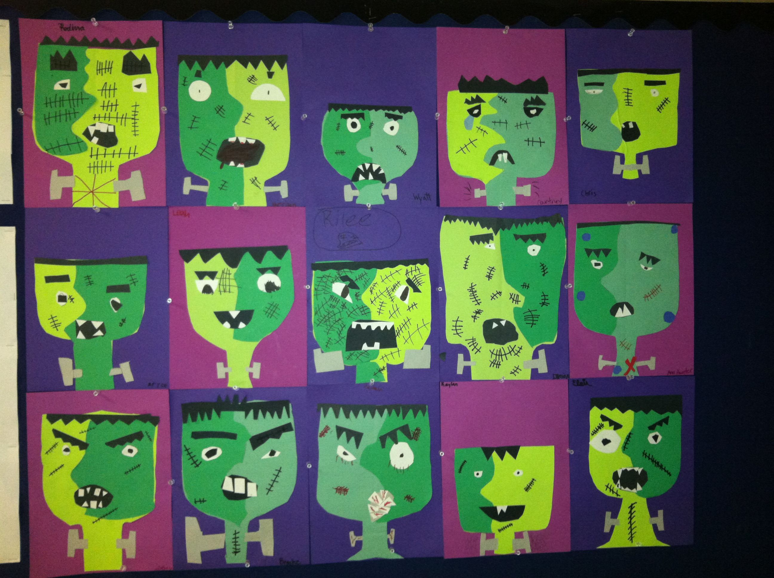 Pablo Picasso is knows as the Father of Cubism. Cubists want to show all sides of an object in the same picture. Our 3rd graders used this technique for Frankenstein's face. Aren't they spooktacular! www.salisburyacademy.org