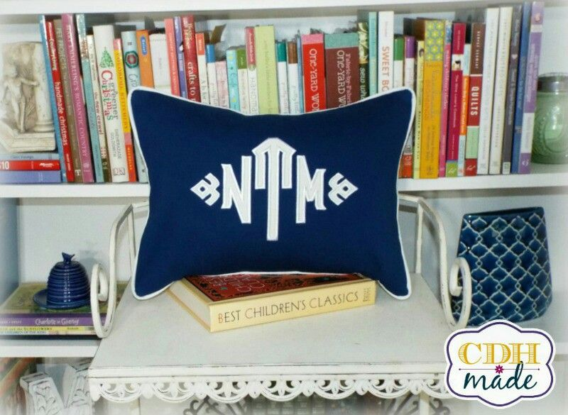 South Pointe monogrammed pillow.  #blueandwhiteforever #boys #calicodaisyhandmade