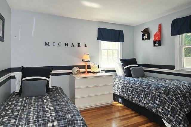 Kinderzimmer Jungen Hellgraue Wandfarbe Schwarze Akzente ... Schlafzimmer Und Kinderzimmer In Einem Raum