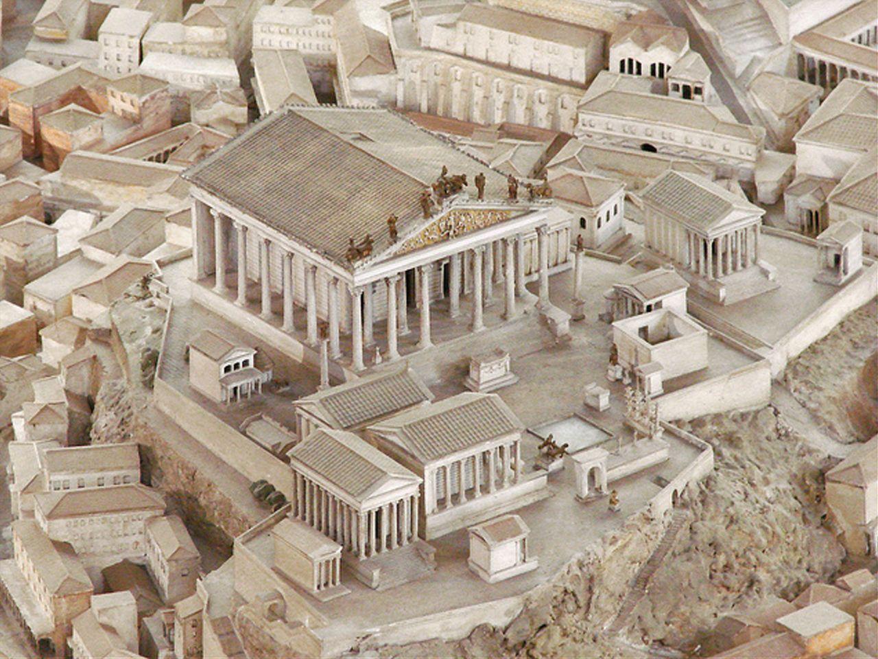 Temple of Jupiter Optimus Maximus (model, Museum of Roman Civilization) - built by the last King of Rome, Lucius Tarquinius Superbus end of 6th century BC