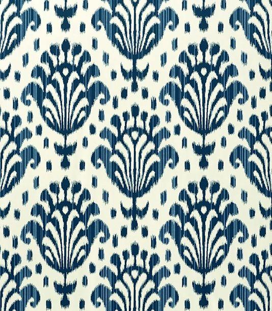 Thai Ikat Wallpaper Cream With Navy Blue Print