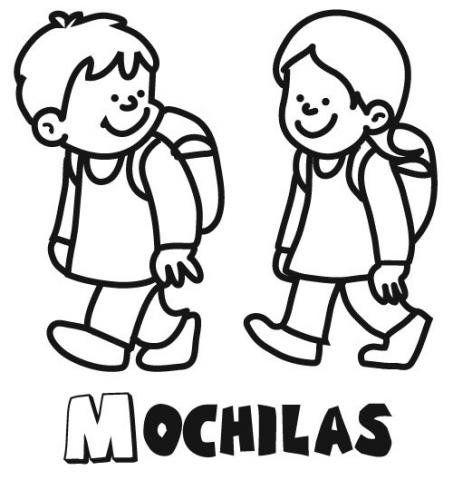 Dibujo Para Colorear De Niños Con Mochilas Yendo Al Colegio Normas