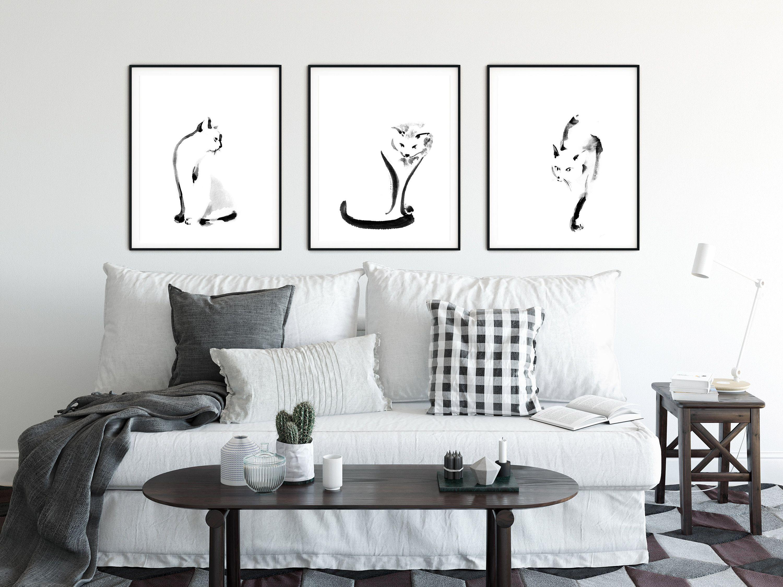 Minimalist Cat Black And White Gallery Wall Set Of 3 Fine Art