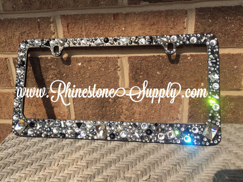 custom beaded license plate frame from www.RhinestoneSupply.com ...