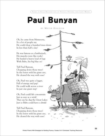 Paul Bunyan A Poem With Strategies for Building Fluency