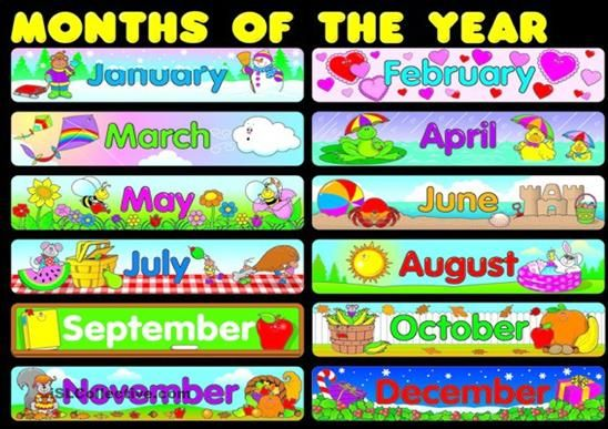 image relating to Months of the Year Printable identified as All the Weeks of the Yr Clip Artwork weeks poster