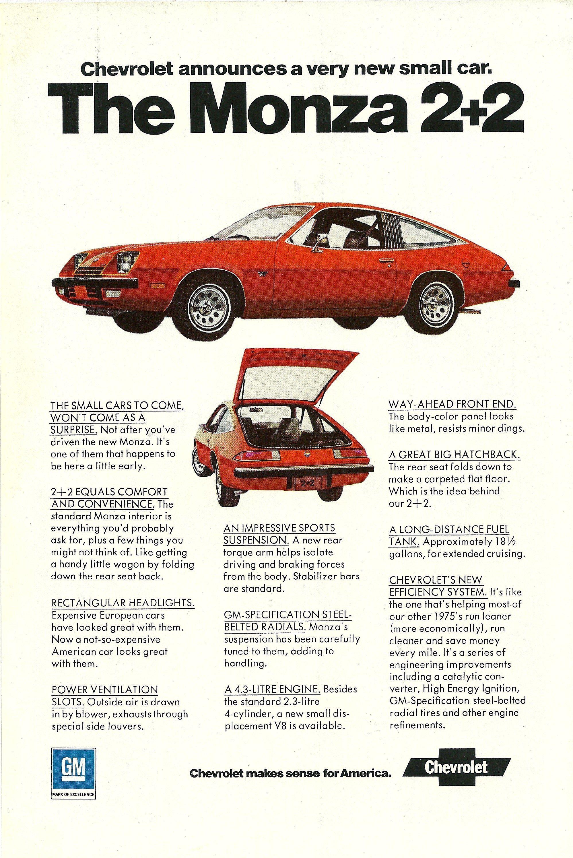 1975 Chevrolet Monza 2 2 Vintage Print Ad Chevrolet Monza