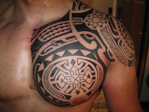 Tatouage polyn sien homme paule pectoral tattoo pinterest tatouage polynesien homme - Tatouage epaule homme polynesien ...