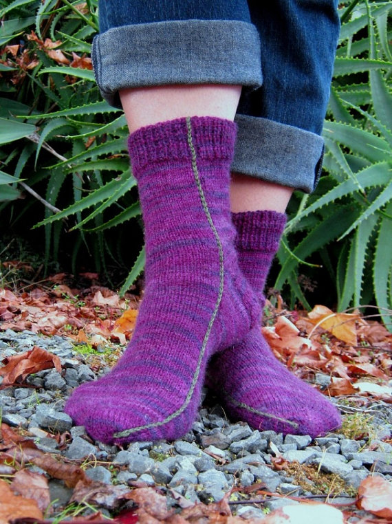 Easy Two Needles Socks Pdf Pattern Only Fine Sports Weight 4ply