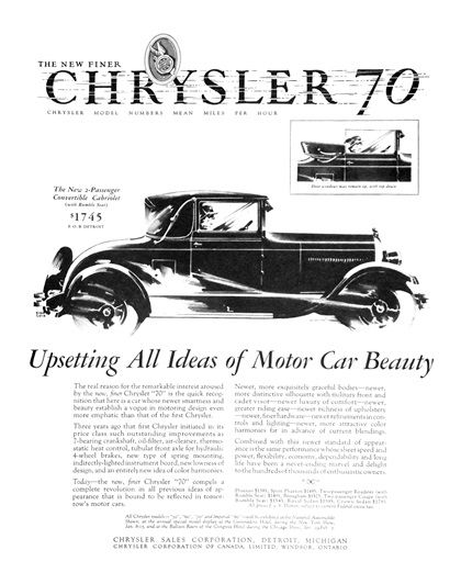 "Chrysler ""70"" 2-Passenger Convertible Cabriolet Ad (February, 1927) - Illustrated by Fred Cole"