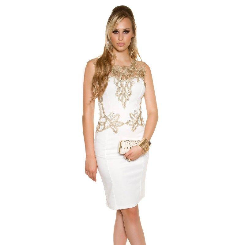 Dámske púzdrové šaty s čipkou v zlatej farbe KouCla  4831fa943cc