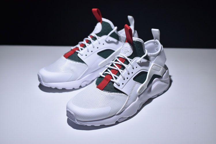 c87d0f46ef6b Gucci X Nike Air Huarache Ultra Flyknit ID Retro Running Shoes White Green