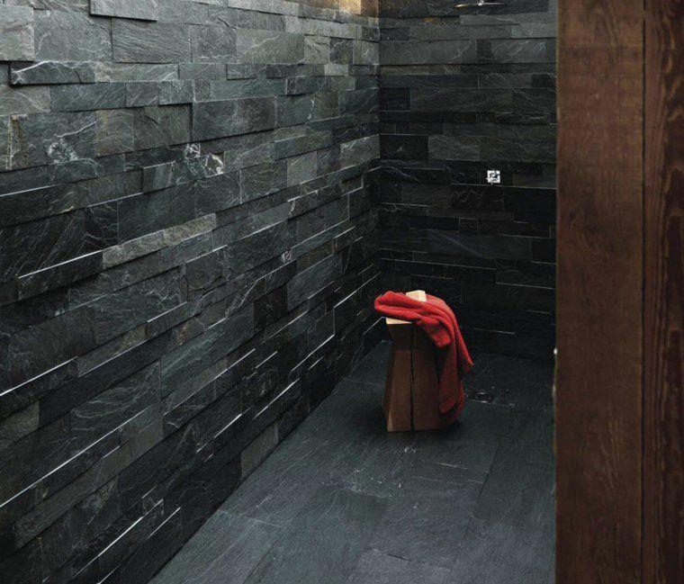 Salle de bain ardoise  naturelle et chic Interiors, Walls and House - faience ardoise salle de bain