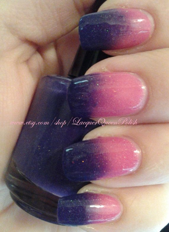 Angel Baby Color Changing Purple To Hot Pink Nail Polish Tered Holo