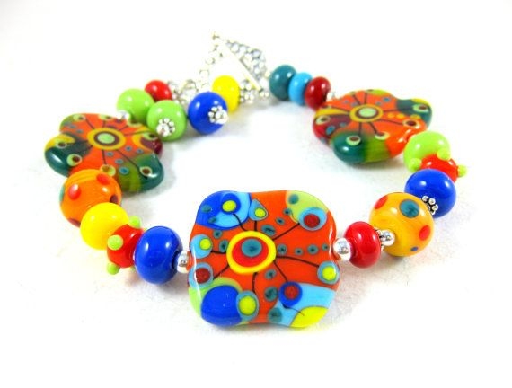 Abstract Lampwork Bracelet Colorful Glass by GlassRiverJewelry, $108.00