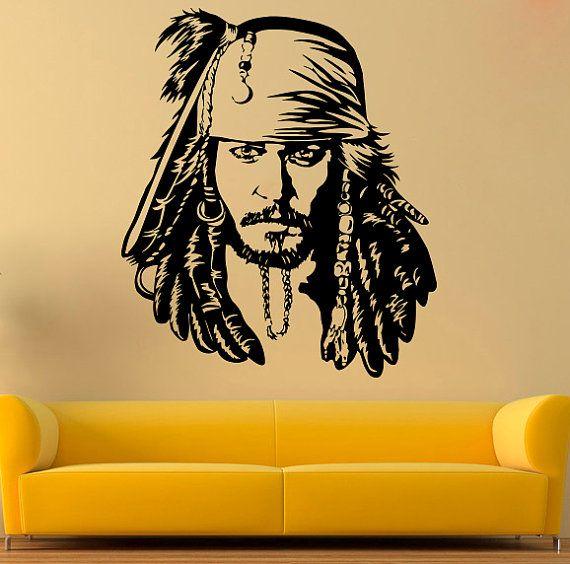 78f382a9826 Jack Sparrow Vinyl Decal Jack Sparrow Wall Sticker Pirates Wall Decals Wall  Vinyl Decor  4rtg