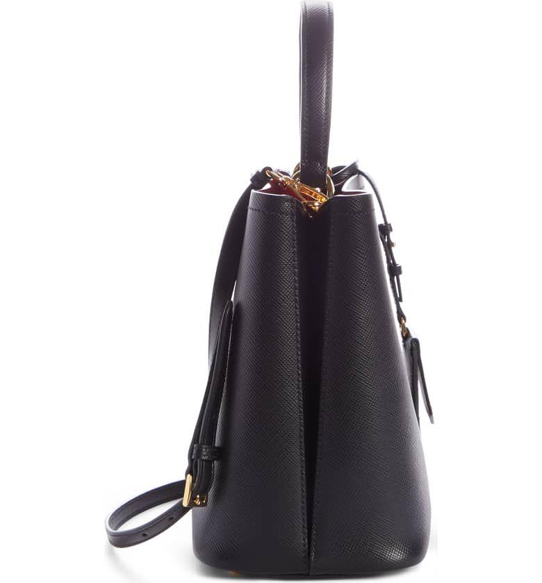 021c9757a173 PRADA Small Saffiano Leather Bucket Bag, Alternate, color, NERO/ FUOCO