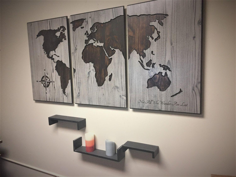 World Map Home Decor Wooden World Map Wood Wall Art World Map Home Decor Push Pin