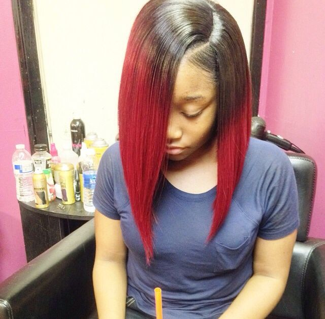 Dark Root And Red Bob Haircut Http Www Latesthair Com Thick Hair Styles Bob Hairstyles For Thick Long Bob Hairstyles