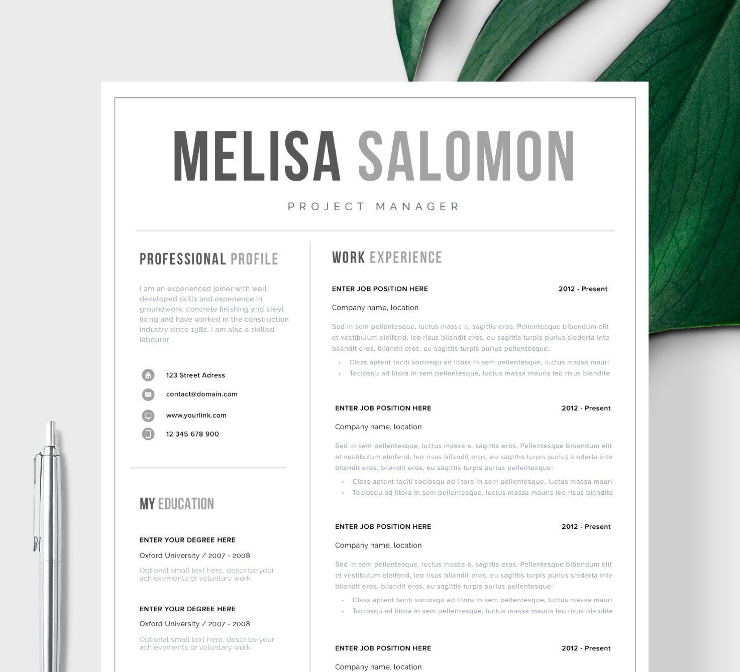 Szablon CV, projekt CV, Wzór CV w pełni edytowalny w