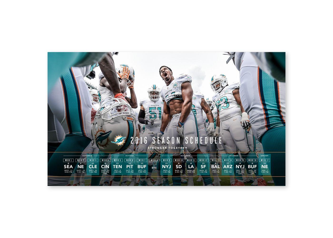 2016 Miami Dolphins on Behance Miami dolphins, Marketing