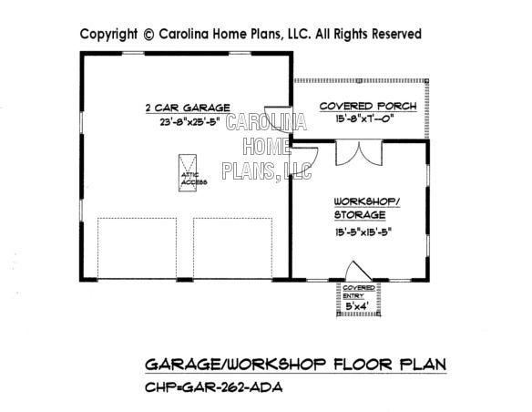 Gar 262 garage workshop plan carport with garage for Garage shop floor plans