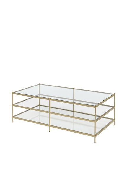 Millennial Collection Simplicity Glam 3 Layers Coffee Table Gold Featuring A Gold Frame And Glass Surface Luxury Coffee Table Coffee Table Gold Coffee Table