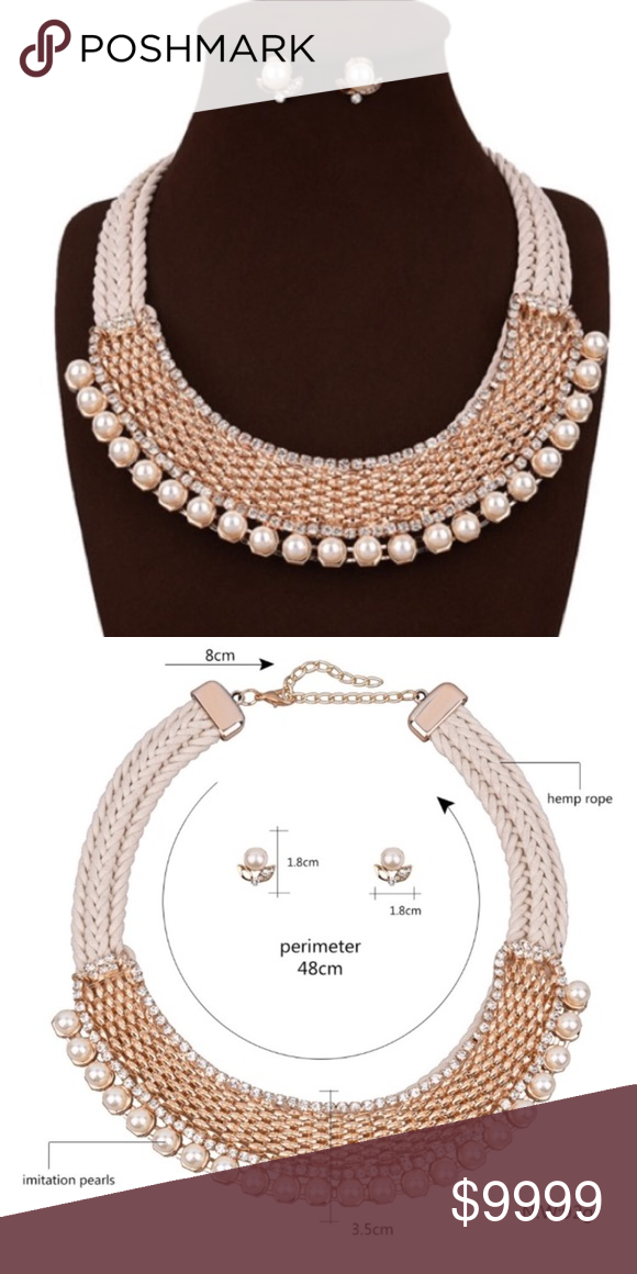 Gorgeous Hemp Rope Necklace With Gold Weave Pearls And Crystals 3 Extension Chain Costume Jewelry This Will Make Your Outfit Necklaces