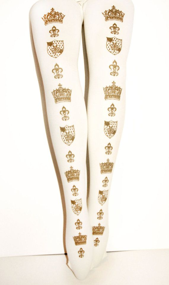 ef13b12d03768 SALE 25% OFF Metallic Gold on White Tights Crown Print All Sizes Small  Medium Large Extra Plus Size