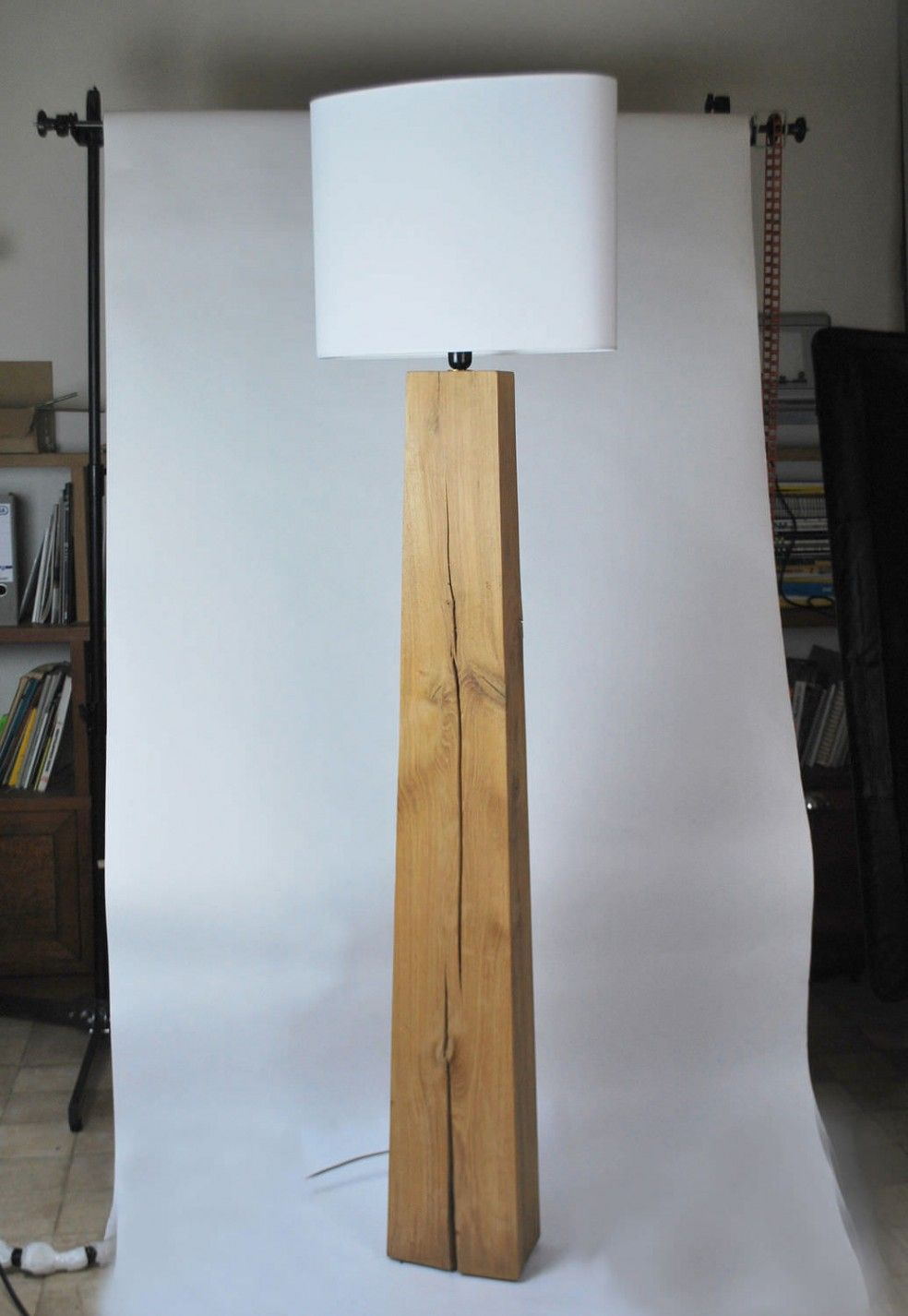 Innovative Modern Wooden Leg Floor Standing Lamp With White ...