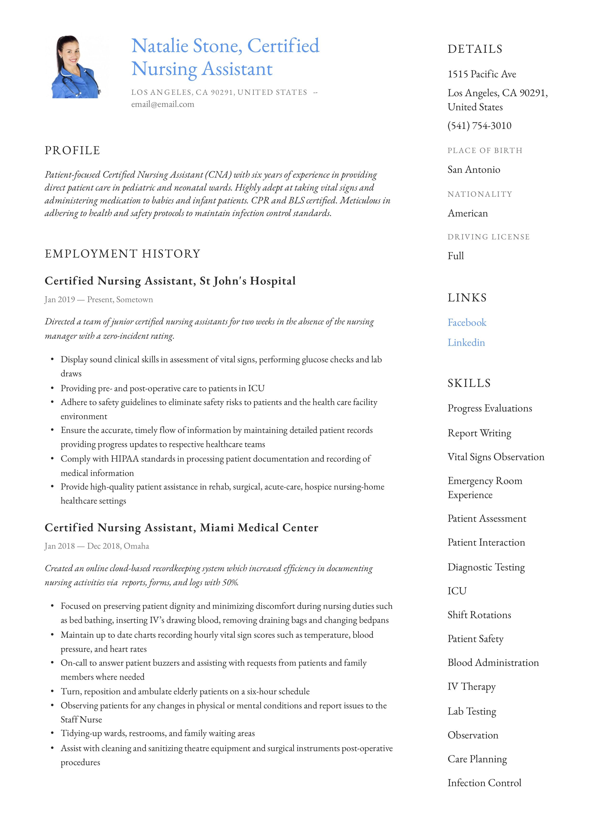 Modern Certified Nursing Assistant Resume Template