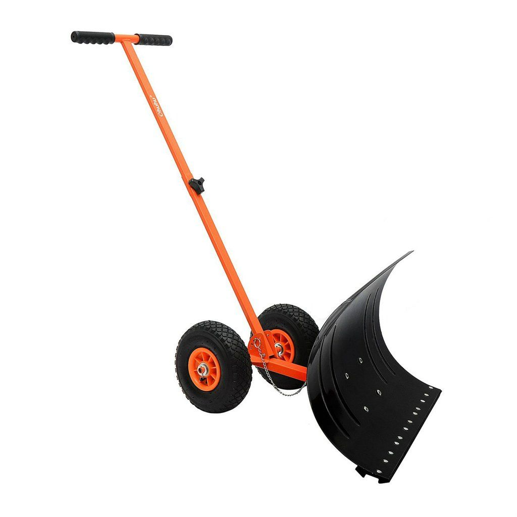 Wide Snow Shovel Pushers Adjustable Handle Heavy Duty Rolling Wheels Blade Plow Product Description: Wide snow shovel makes the arduous chore of snow shoveling better, faster, easier and less strenuou