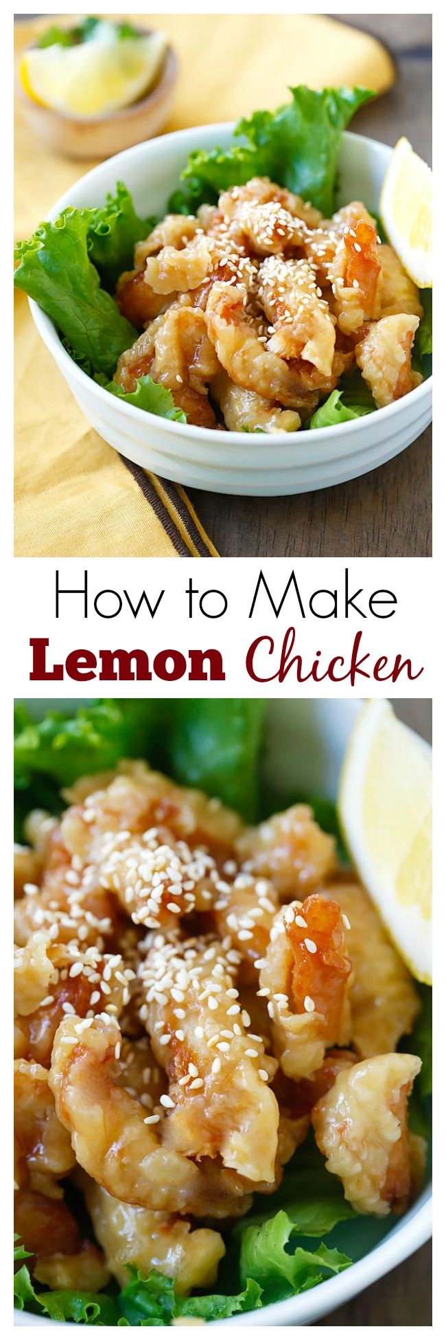 Lemon Chicken - super crispy chicken in yummy and citrusy lemon sauce. This is so good with rice. Learn how to make it   rasamalaysia.com