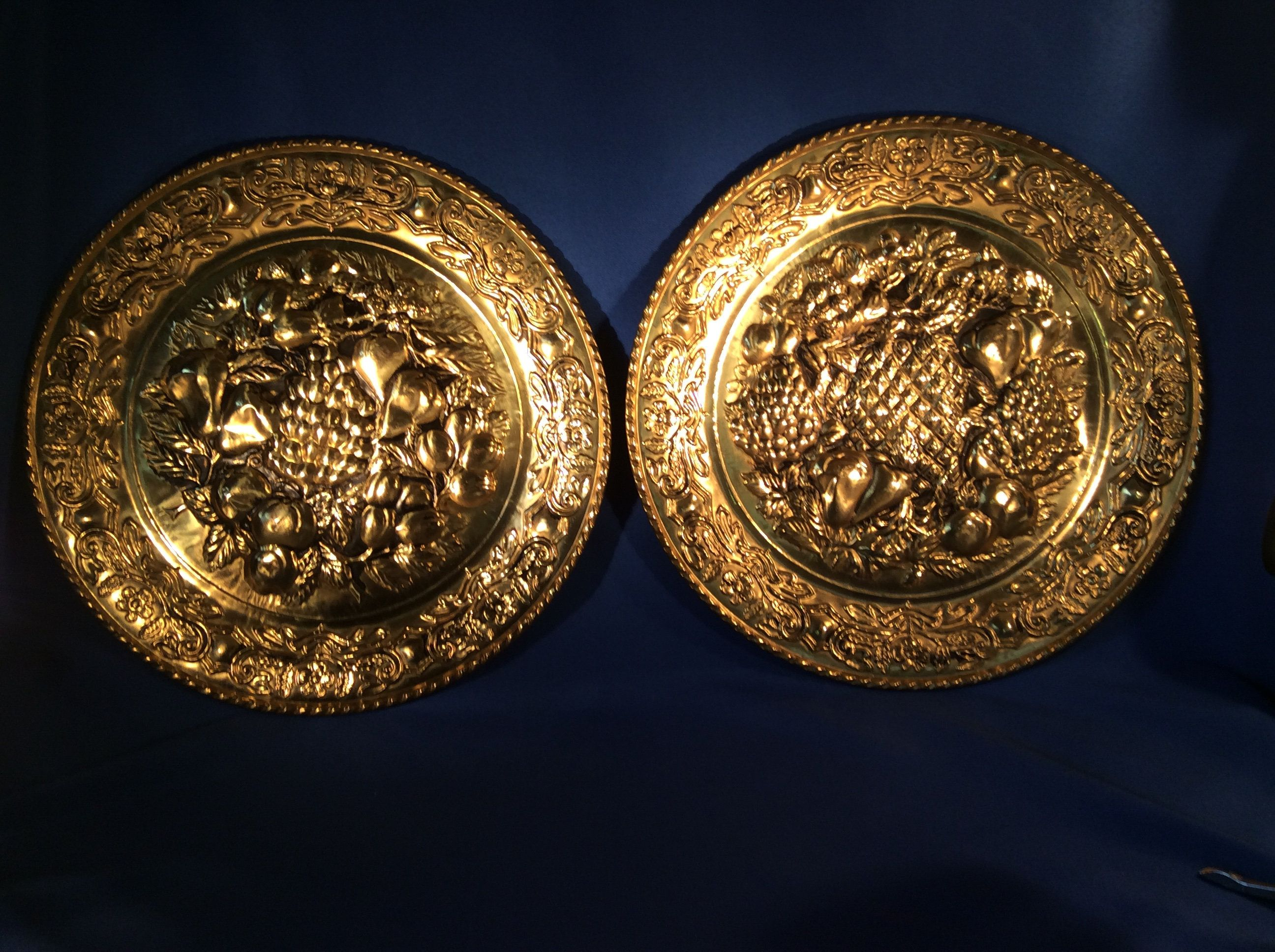 2 Vintage Decorative Hanging Hammered Brass Wall Plates Made In