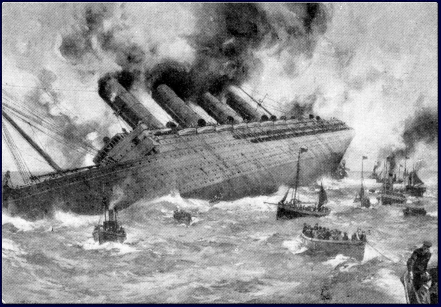 This picture shows the sinking of the Lusitania, this was one of ...