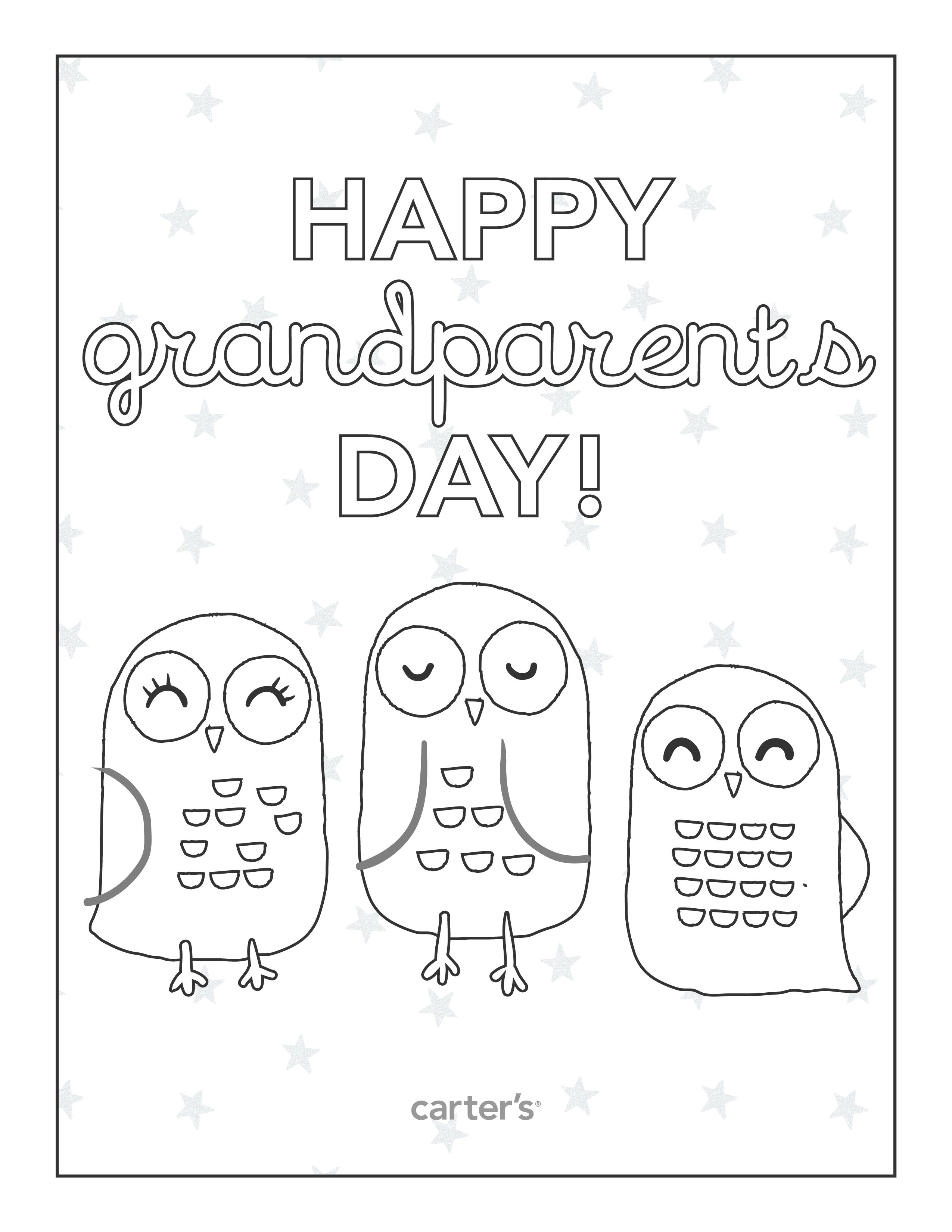 Happy Grandparents Day Owl Coloring Sheet Grandparentsday