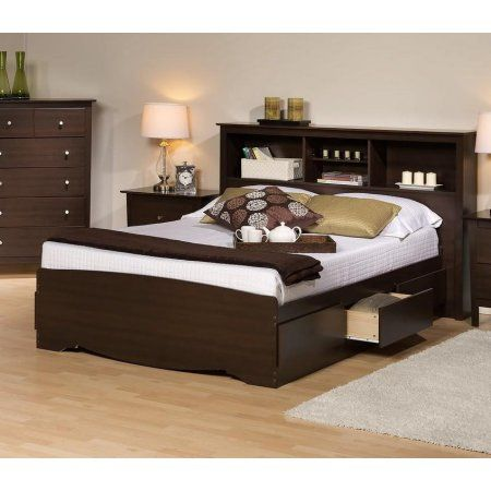 Platform Storage Bed W Bookcase Headboard Bed Size Queen Color