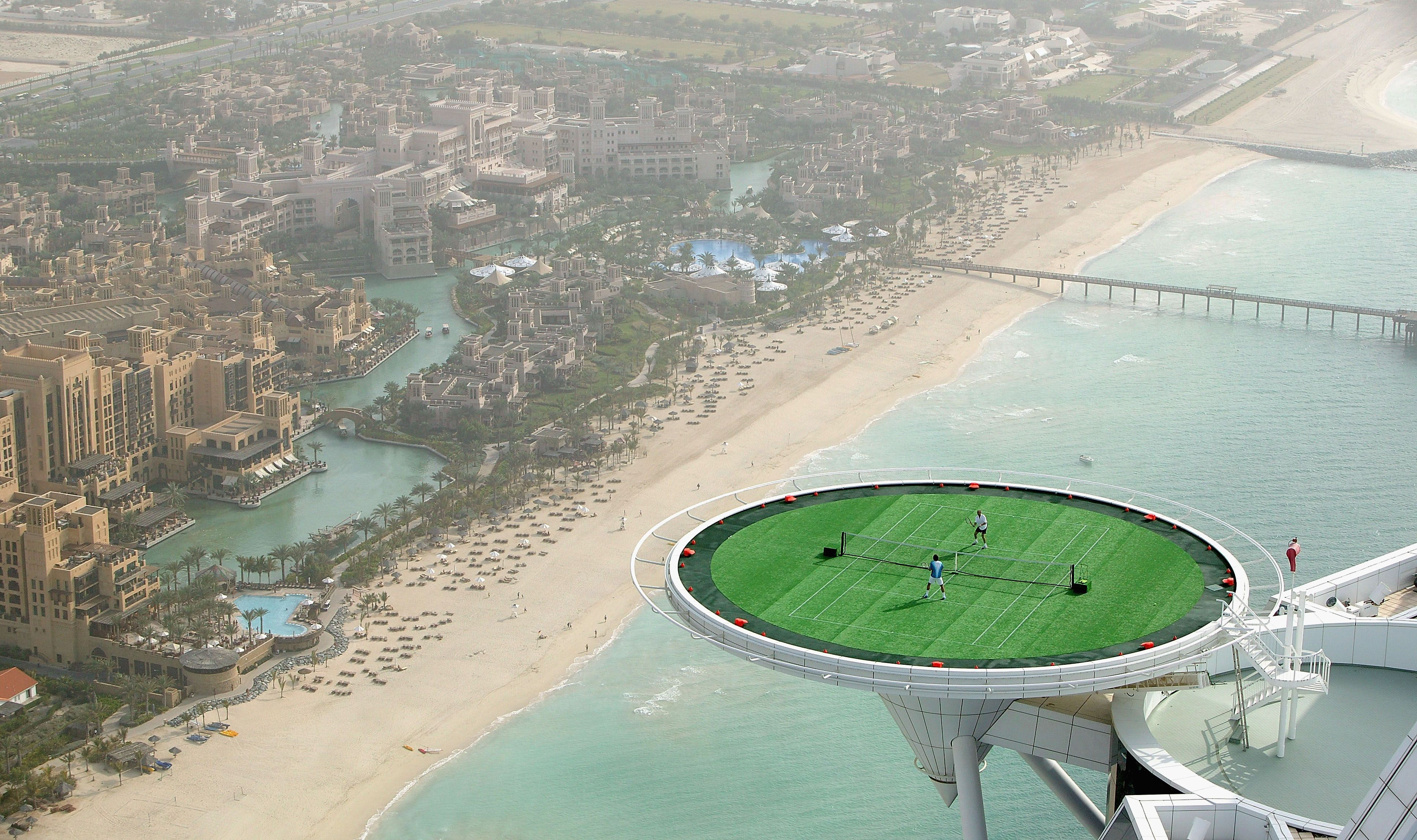 Tennis Court Helipad On The Roof Of Seven Star Burj Al Arab Hotel