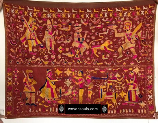 A Temple Hanging Phulkari from Punjab - from the WOVENSOULS colection