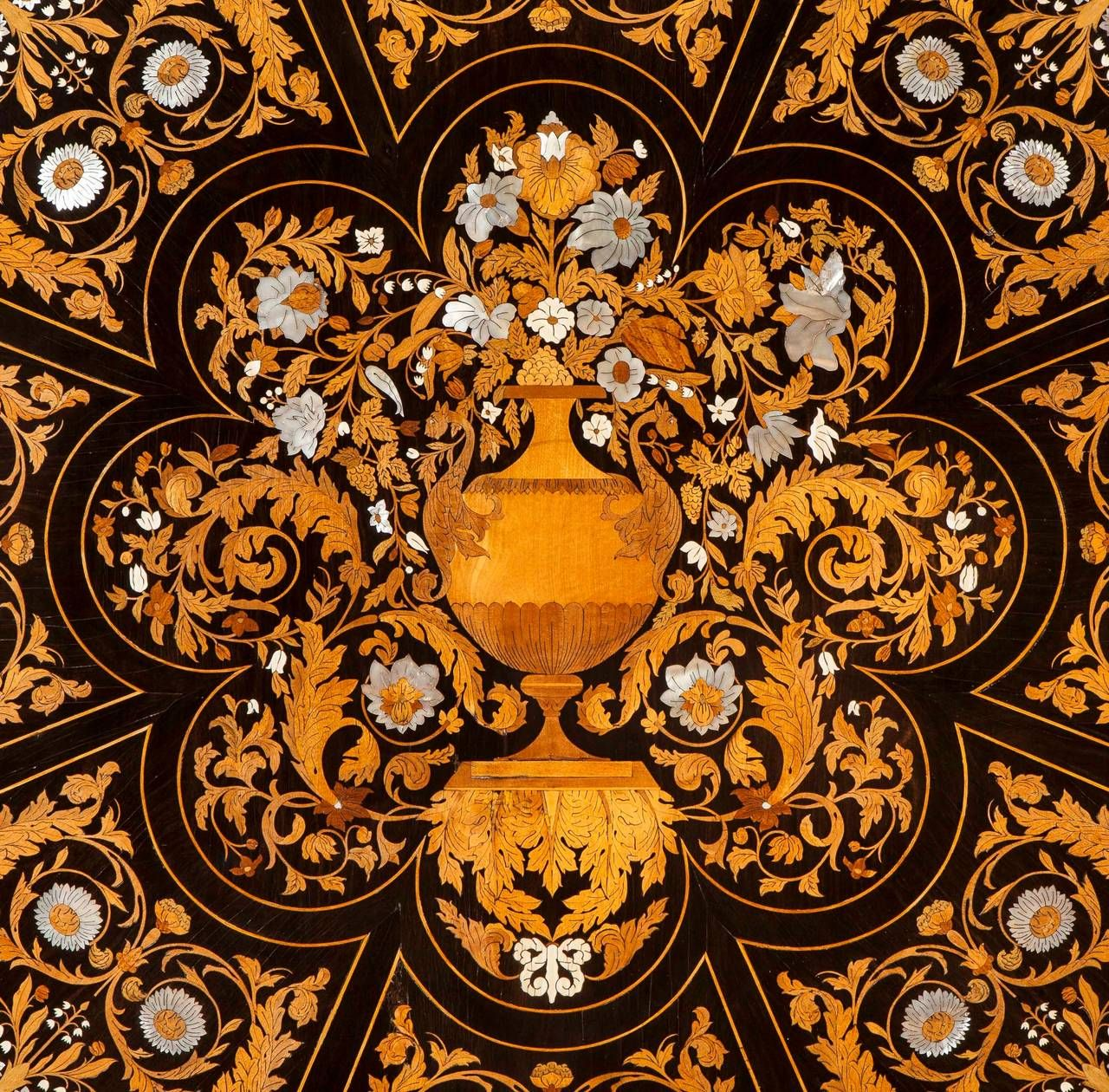 19th Century Italian Marquetry Center Table   From A Unique Collection Of  Antique And Modern Center