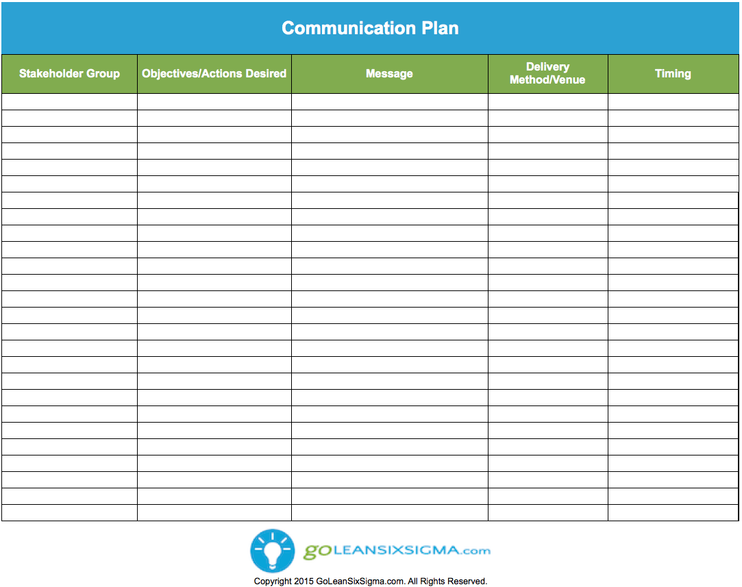 Communication Plan Lean Six Sigma Templates Communication Plan