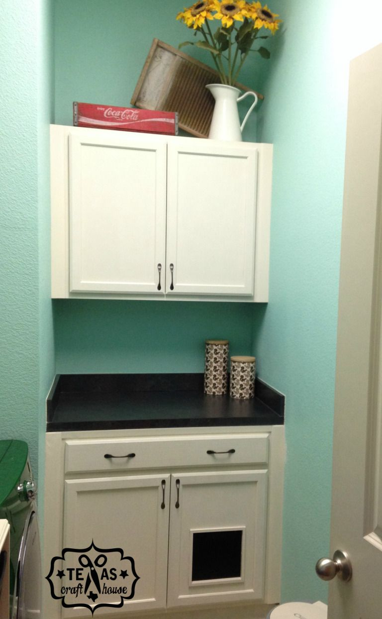 Laundry room makeover builtin litter box texas