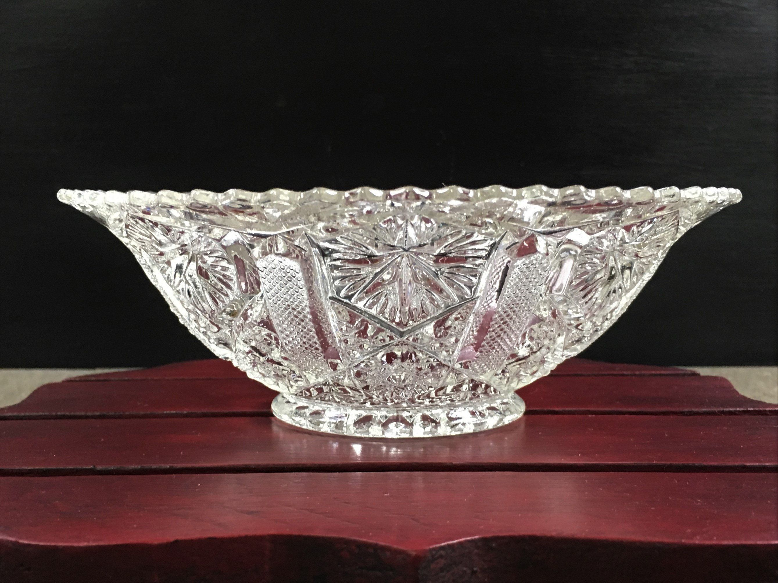 Antique American Glass Bowl Star And File Imperial Glass 1920
