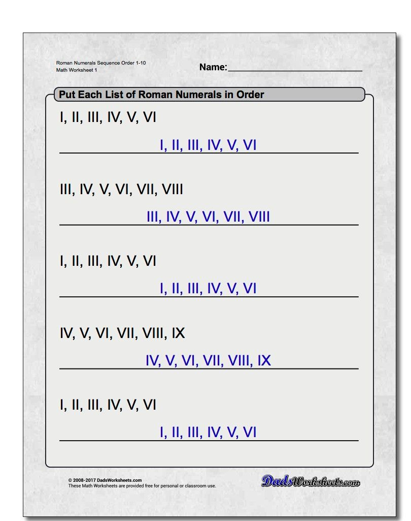 Free math worksheets for Roman Numerals problems with answer key ...